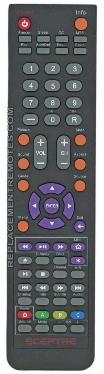 Sceptre E165BDREM Remote Control
