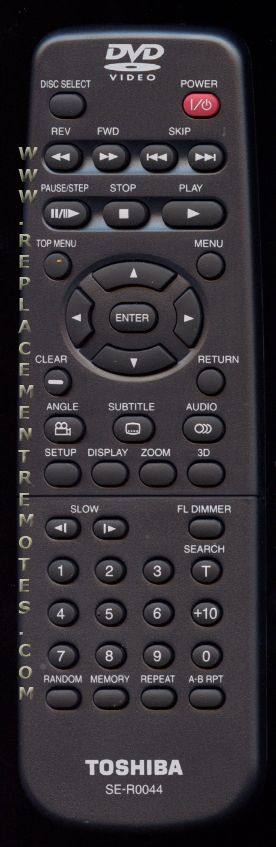 TOSHIBA SER0044 DVD Player Remote Control
