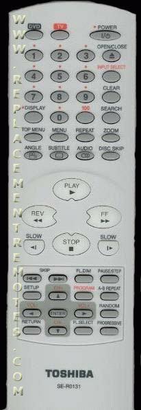 TOSHIBA SER0131 TV/DVD Combo Remote Control