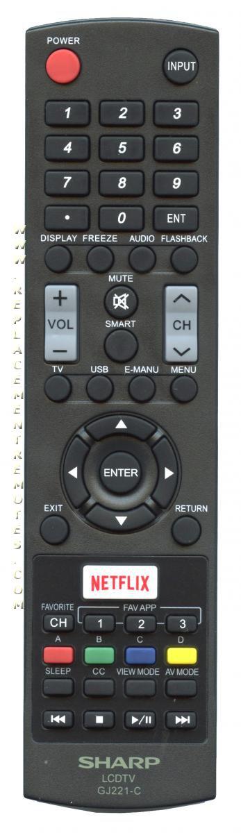 SHARP GJ221C TV Remote Control