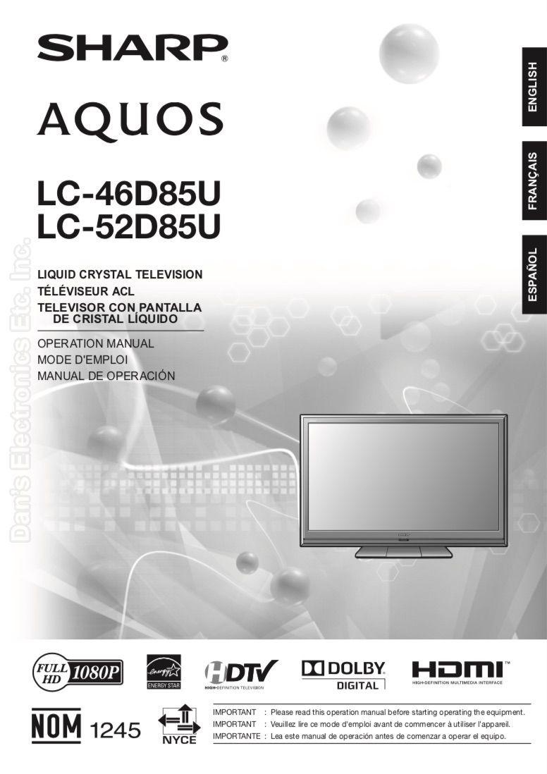 ... Array - buy sharp lc46d85uom lc 46d85u lc 52d85u operating manual rh  replacementremotes com