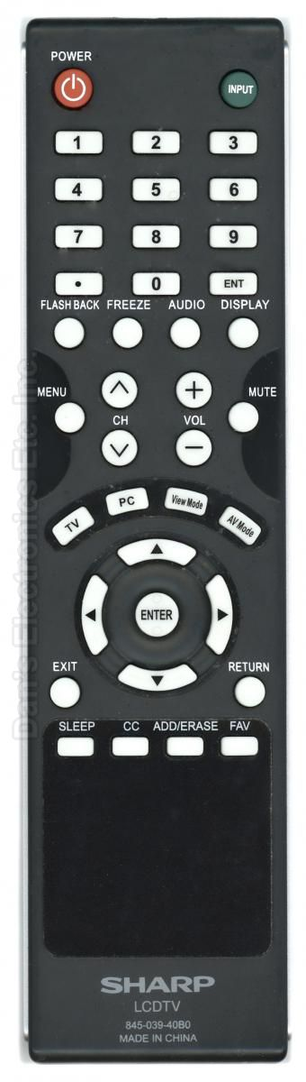 SHARP 84503940B0 Remote Control