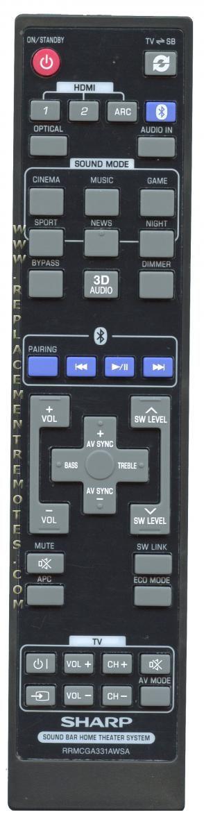 SHARP RRMCGA331AWSA Sound Bar System Remote Control