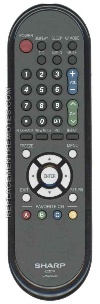SHARP GA603WJSA TV Remote Control