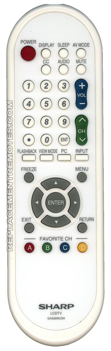 SHARP GA626WJSA Remote Control