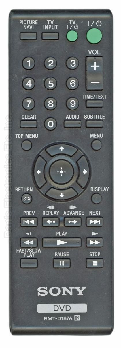 SONY RMTD187A DVD Player Remote Control
