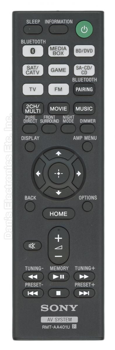 SONY RMTAA401U Audio/Video Receiver Remote Control