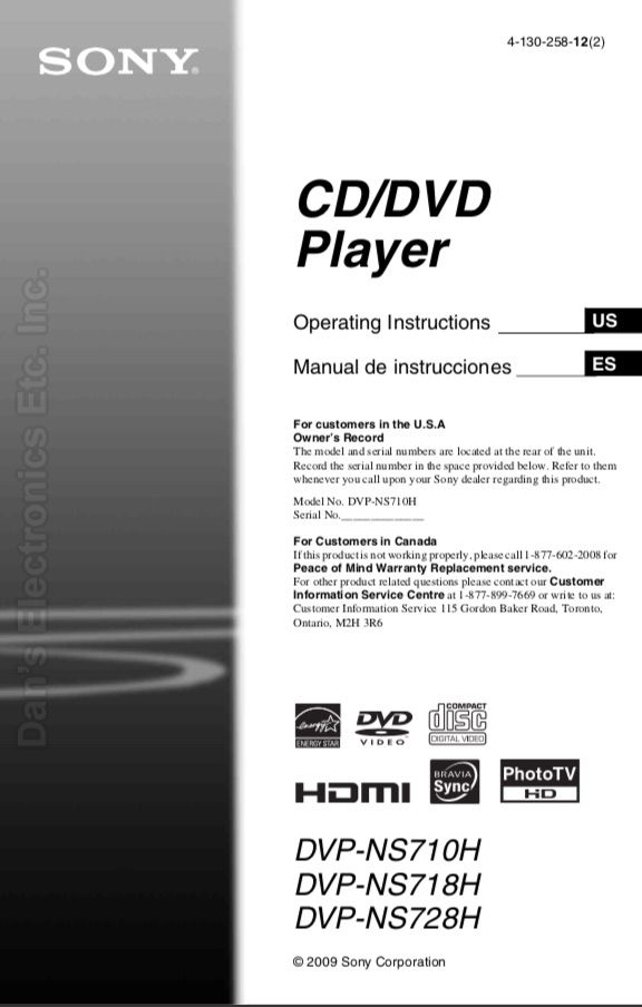 SONY DVPNS710HOM Operating Manual