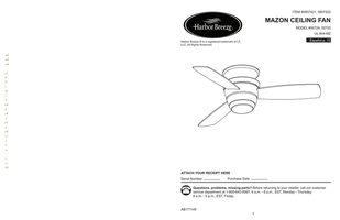 ANDERIC 00724MAZONCEILINGFANOM Operating Manuals