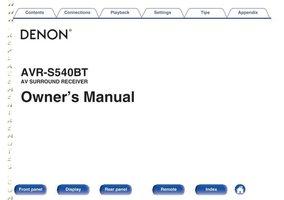 DENON AVRS540BTOM Operating Manuals