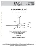 Home Decorators Collection Altura 68 inch Ceiling Fan Operating Manuals