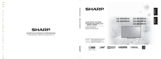 SHARP LC32LE551UOM Operating Manuals