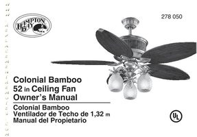 ANDERIC ac375colonialbamboo52inceilingfanom Operating Manuals