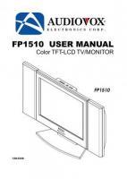 AUDIOVOX fp1510om Operating Manuals