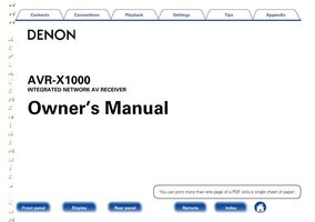 DENON avrx1000om Operating Manuals