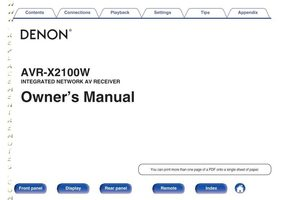 DENON avrx2100wom Operating Manuals