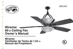 Hampton-Bay AC374WBMiramar60inWeatheredBronzeCeilingFanOM Operating Manuals