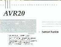 Harman-Kardon AVR20OM Operating Manuals