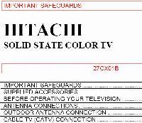 HITACHI 27cx01bom Operating Manuals