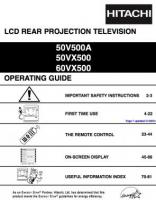 HITACHI 50VX500 60VX500OM Operating Manuals