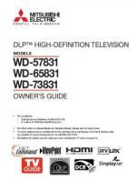 MITSUBISHI WD57831OM Operating Manuals