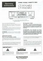 PIONEER ctw704rsom Operating Manuals