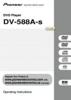 PIONEER dv588aom Operating Manuals