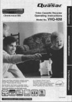 Quasar VHQ40MOM Operating Manuals