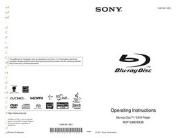 SONY bdps380om Operating Manuals