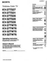 SONY kv27ts27om Operating Manuals