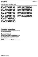SONY kv27xbr10om Operating Manuals