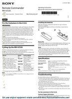 SONY rmvz320 and codesom Operating Manuals