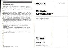 SONY rmy130om Operating Manuals