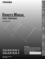 TOSHIBA 36afx61om Operating Manuals