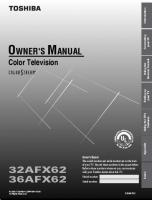 TOSHIBA 36afx62om Operating Manuals
