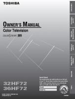 TOSHIBA 36hf72om Operating Manuals