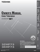 TOSHIBA 36hf73om Operating Manuals