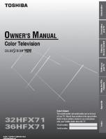 TOSHIBA 36hfx71om Operating Manuals