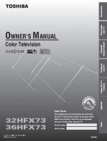 TOSHIBA 36hfx73om Operating Manuals