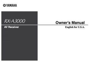 YAMAHA rxa3000om Operating Manuals