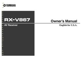 YAMAHA rxv867om Operating Manuals
