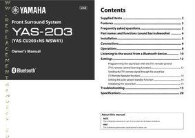 YAMAHA yas203om Operating Manuals
