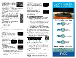 Zvox legacy soundbase 580 om Operating Manuals