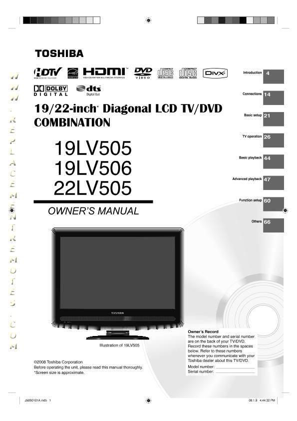 TOSHIBA 19LV505OM Operating Manual