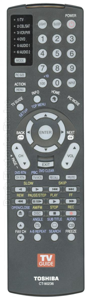 TOSHIBA CT90236 TV Remote Control