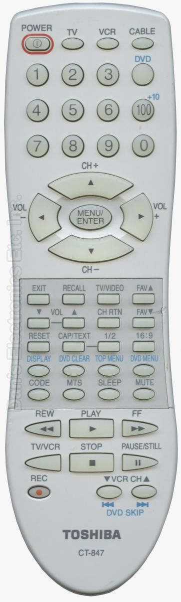 TOSHIBA CT847 TV Remote Control