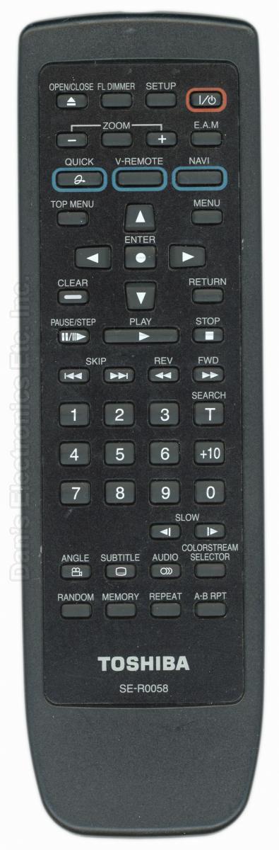 TOSHIBA SER0058 DVD Player Remote Control