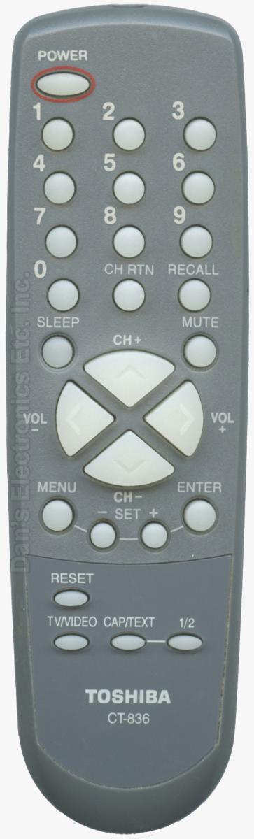 TOSHIBA CT836 TV Remote Control