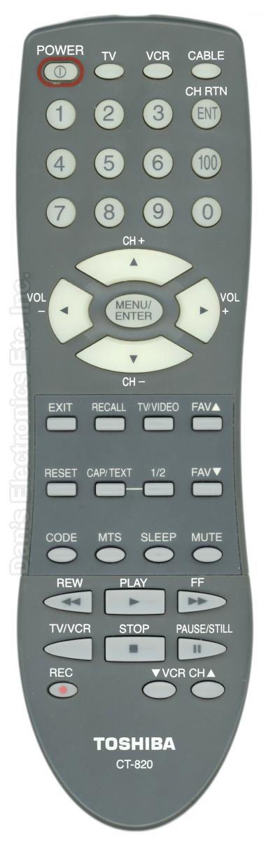 TOSHIBA CT820 TV Remote Control