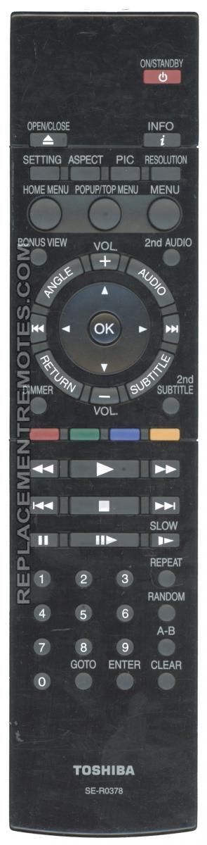 TOSHIBA SER0378 Blu-Ray DVD Player Remote Control